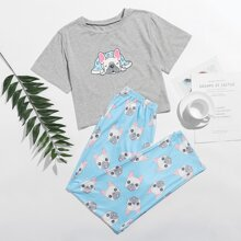 Bulldog Print Tee & Pants PJ Set