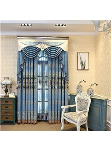 Thick Embroidery European Style Chenille Blackout Grommet Curtain Panels for Living Room Bedroom
