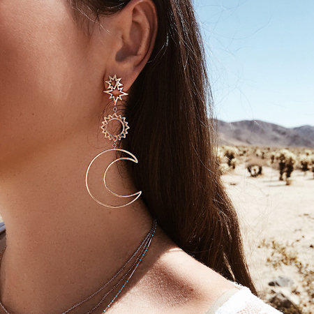 Yoins Gold Sun and Moon Shape  Earrings