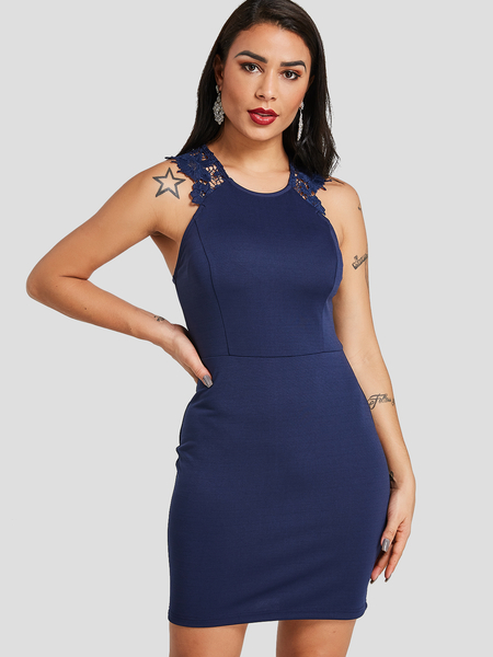 Yoins Navy Halter Zip Sleeveless  Back Lace Details Dress