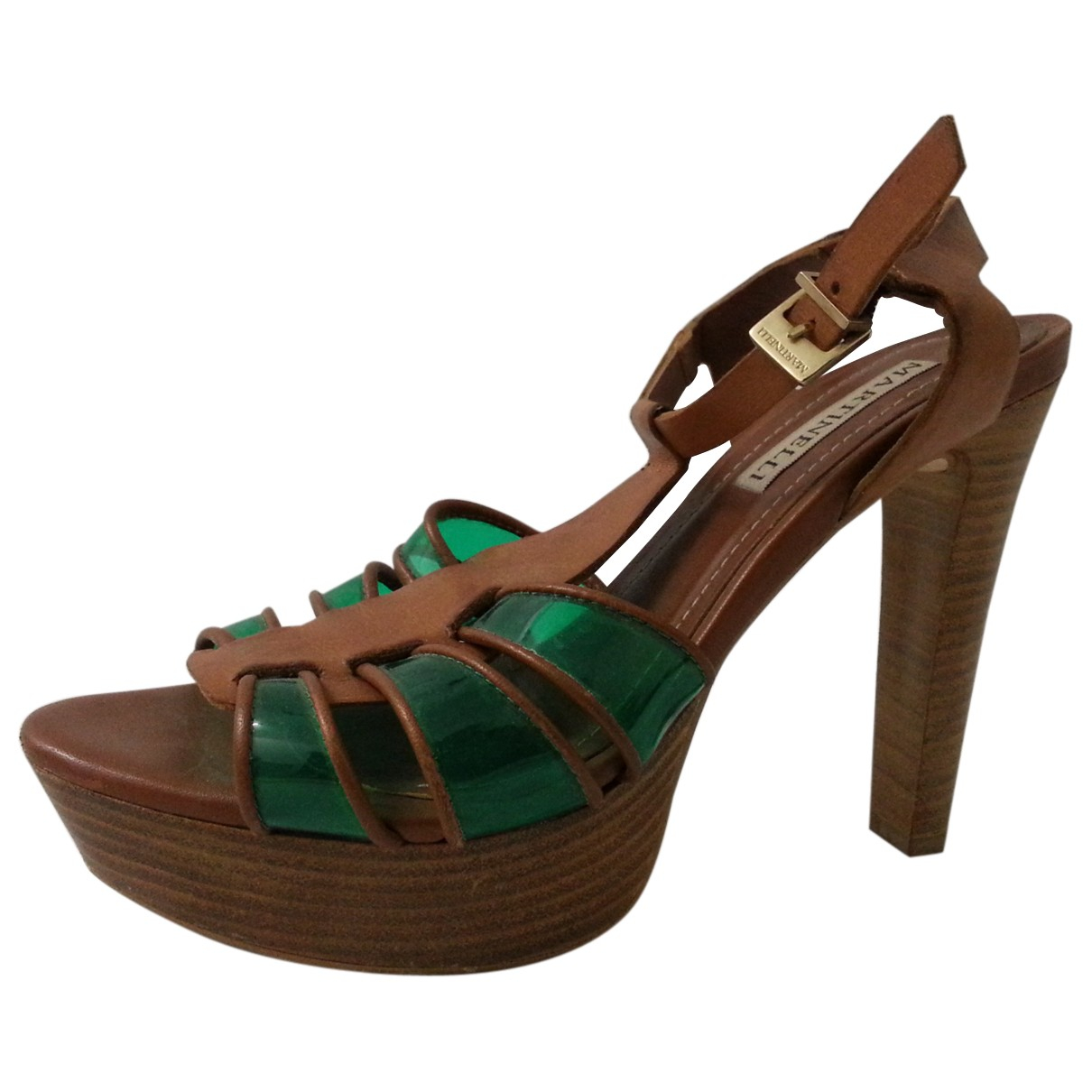 Non Signé / Unsigned N Camel Leather Sandals for Women 37 EU