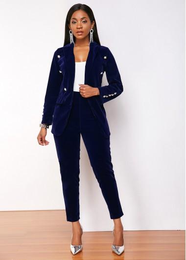 Navy Blue Notch Collar Blazer and Pant - S