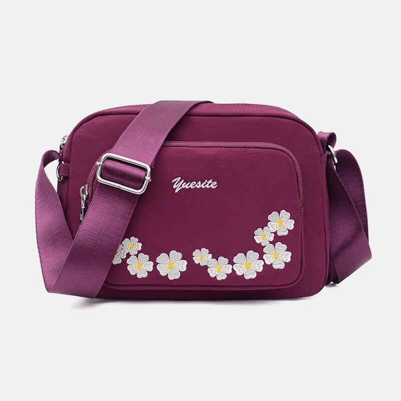 Women Waterproof Multi-pocket Embroidery Floral Crossbody Bag