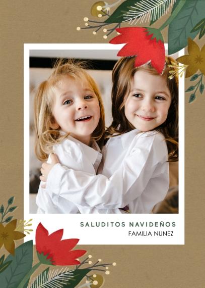 Tarjetas de Navidad 5x7 Folded Cards, Standard Cardstock 85lb, Card & Stationery -Saluditos Navidenos
