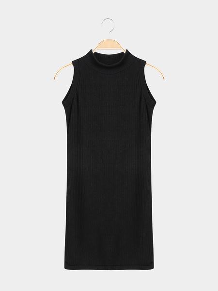 Yoins Black Sleeveless Crew Neck Knitted Mini Dress
