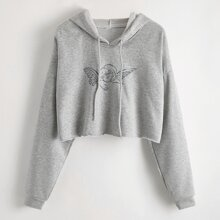 Angel Print Crop Hooded Sweatshirt