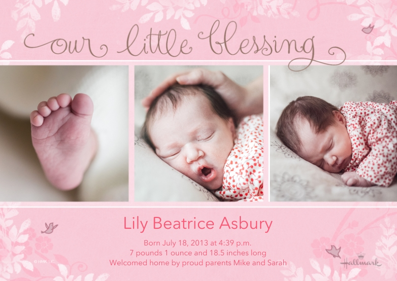 Baby Girl Announcements 5x7 Cards, Premium Cardstock 120lb with Rounded Corners, Card & Stationery -Our Little Blessing - Pink