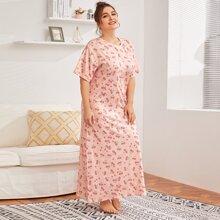 Plus Cherry Print Maxi Night Dress