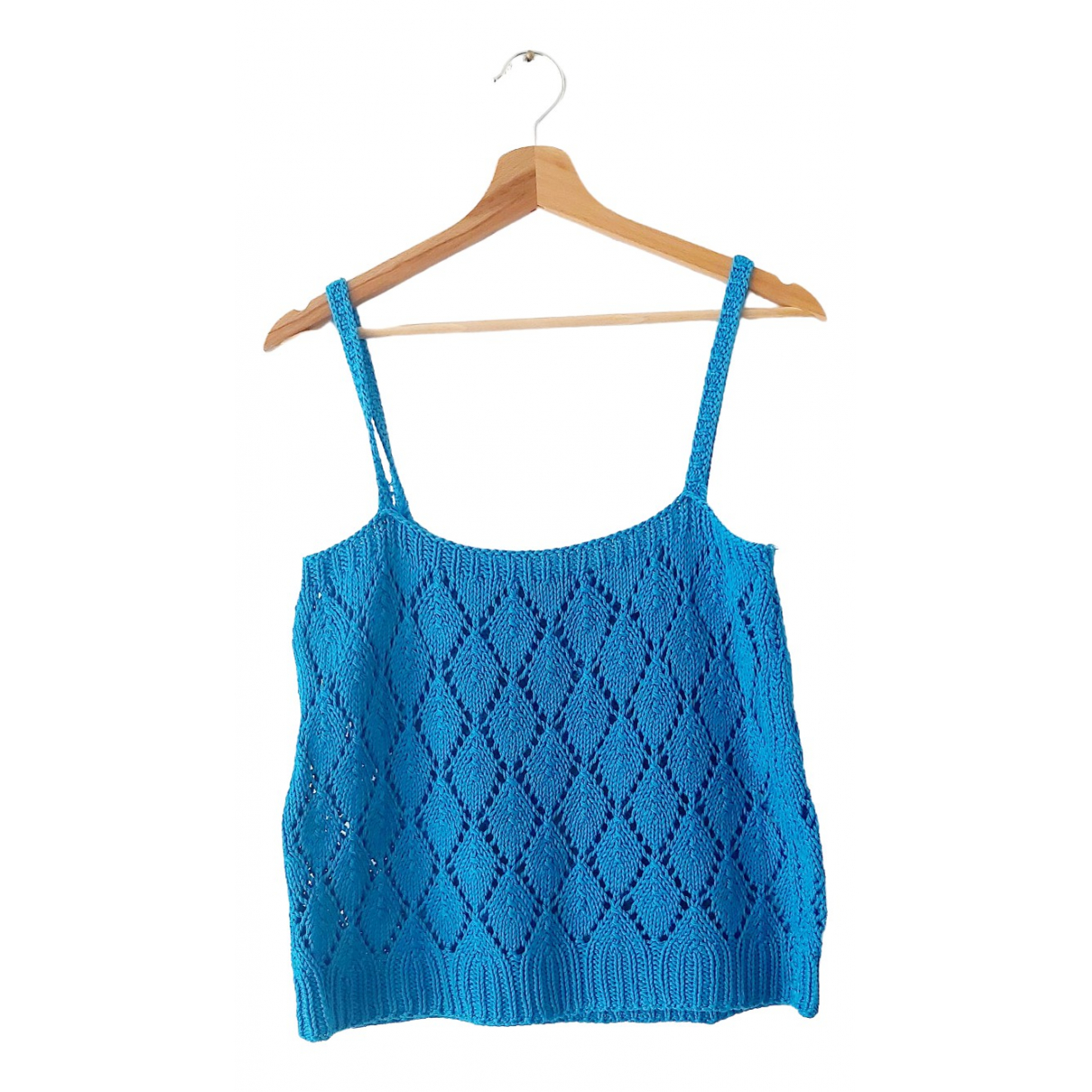 Non Signé / Unsigned Hippie Chic Blue Cotton  top for Women L International