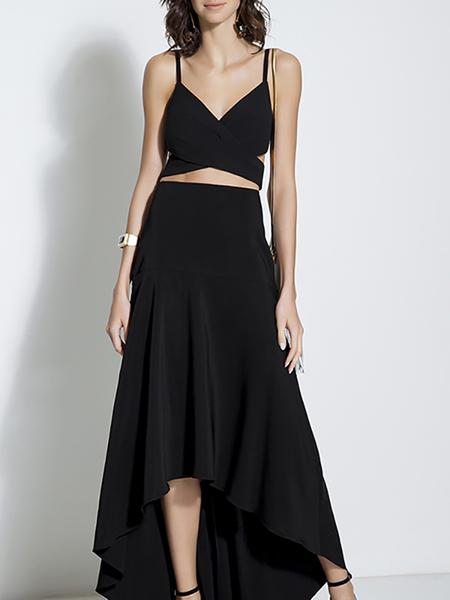 Yoins Black Cami Top & Asymmetric Skirt