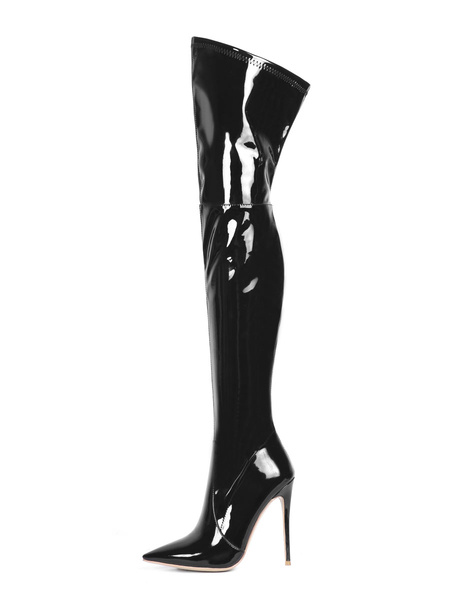 Milanoo Over The Knee Boots PU Leather Black Pointed Toe Stiletto Heel Thigh High Boots