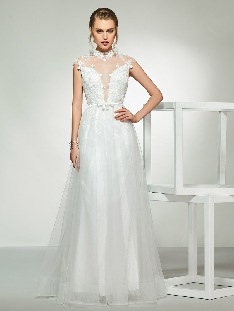 Ericdress High Neck Button Sheer Back Appliques Wedding Dress