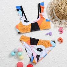 Girls Graphic Ruffle Trim Bikini Swimsuit