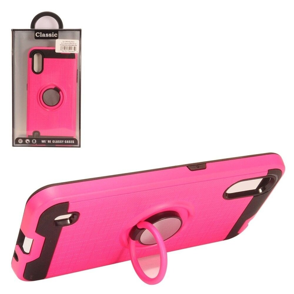 Insten Hard Dual Layer Brushed TPU Case w/stand For Samsung Galaxy A01 - Hot Pink (Pink)