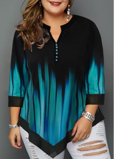 Women'S Cyan Split Neck Plus Size Casual T Shirt Asymmetric Hem Three Quarter Sleeve Tunic Fall Top By Rosewe - 1X