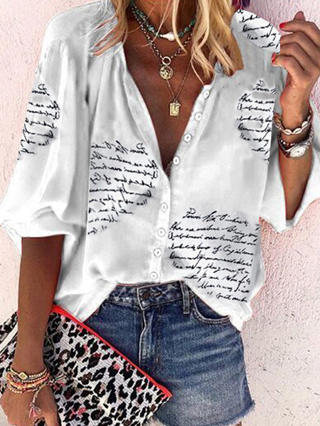 Yoins White Letter Button Front V-neck Long sleeves Tee