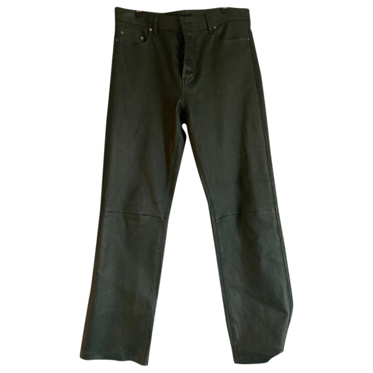 Joseph N Green Leather Trousers for Women 40 FR
