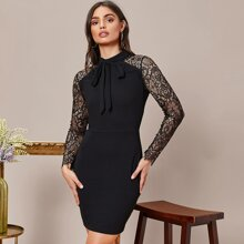 Tie Neck Sheer Lace Sleeve Dress