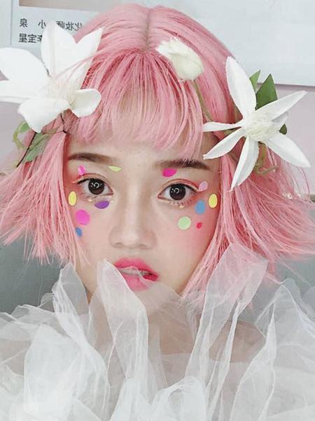 Milanoo Peluca rosa de Lolita Pelucas cortas cortas de fibra de Lolita de fibra resistente al calor