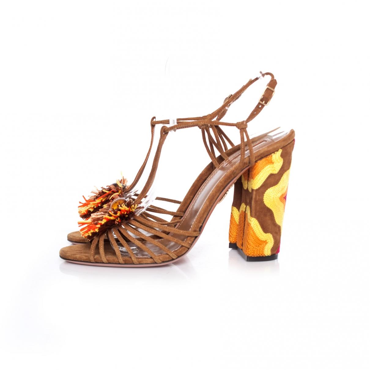 Aquazzura - Sandales   pour femme en suede - beige