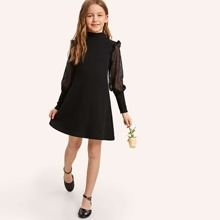 Girls Keyhole Back Sheer Leg-of-mutton Sleeve Dress