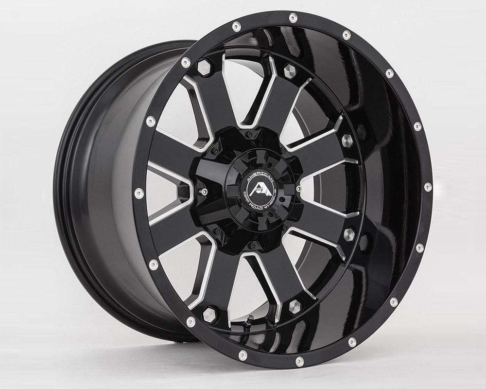 American Off-Road A10820A2514-44BMI A108 Black Milled Wheel 20x12 5x114.3 -44mm