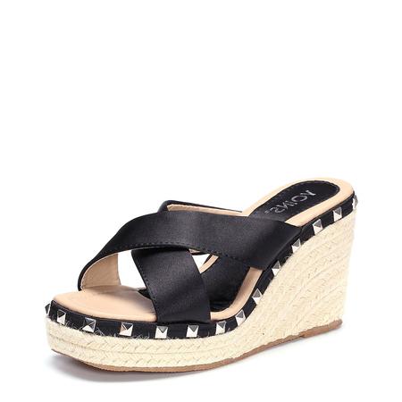 Yoins Black Cross Front Rivet Embellished Wedge Slippers