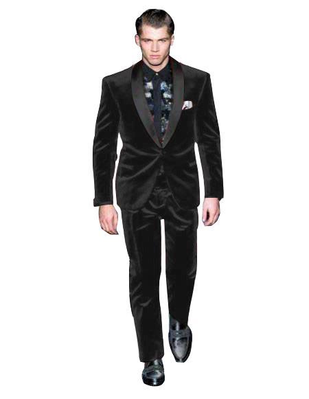 Mens Black One Button Suit
