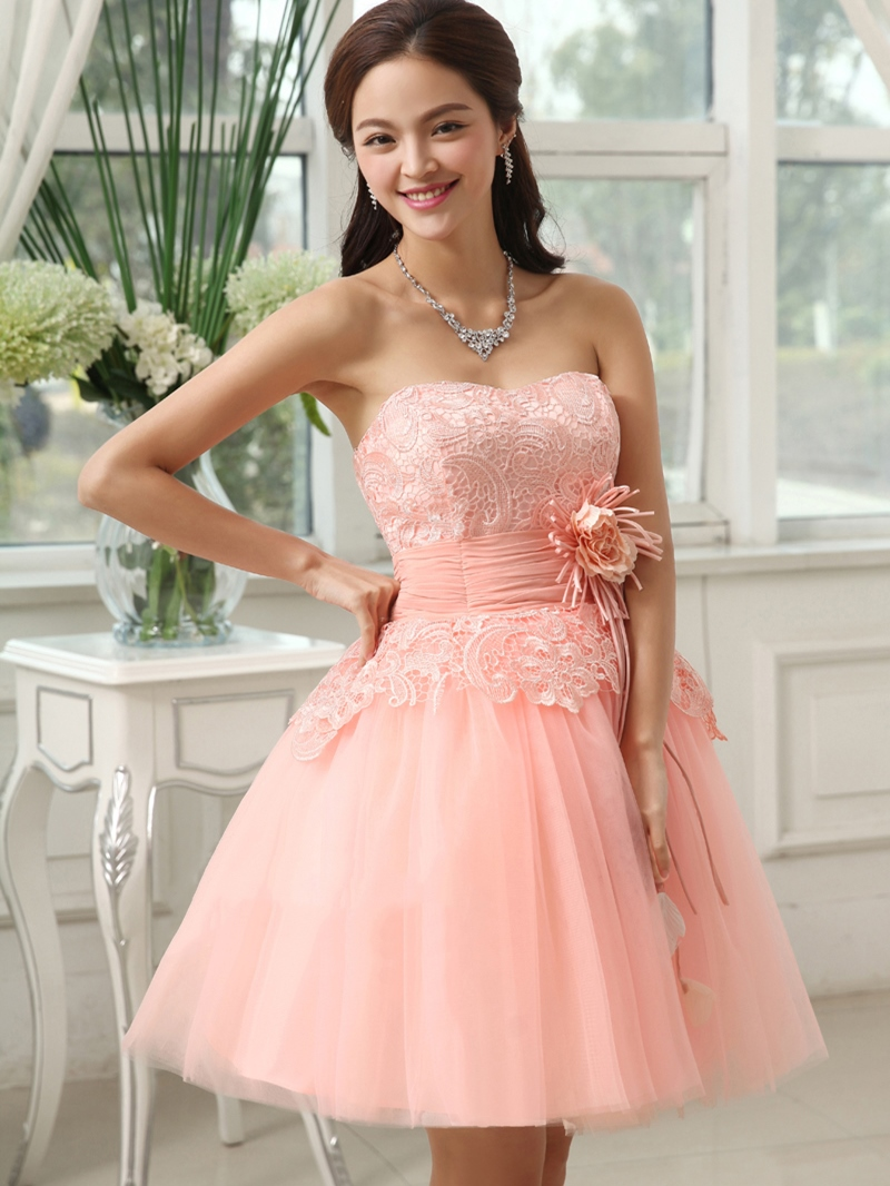 Admirable Short/Mini Length Lace Up Flower Homecoming/Sweet 16 Gown