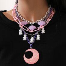 2 Stuecke Halskette mit Mond Anhaenger und Kette