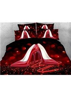 3D Red High Heels Soft Comfortable Duvet Cover Set 4-Piece Bedding Set