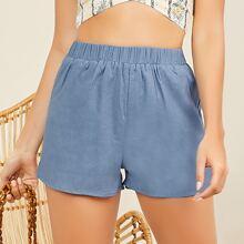 Elastic Waist Chambray Shorts With Pockets