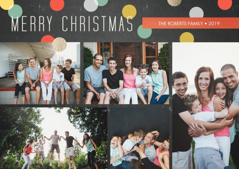 Christmas Photo Cards 5x7 Cards, Premium Cardstock 120lb with Scalloped Corners, Card & Stationery -Retro Confetti