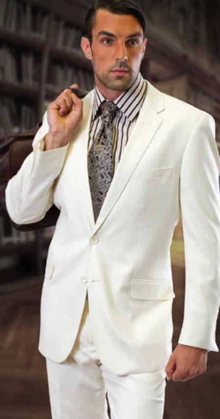 2 Piece 2 Button Offwhite Mens Suit by Italian Fabric