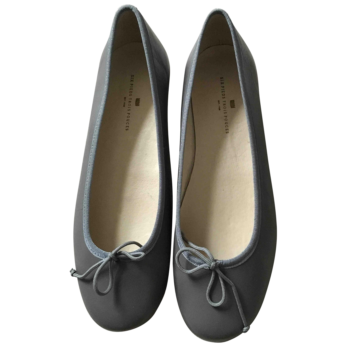 Non Signé / Unsigned \N Grey Leather Ballet flats for Kids 38 EU