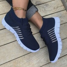 Lace Up Decor Mesh Panel Knit Sneakers