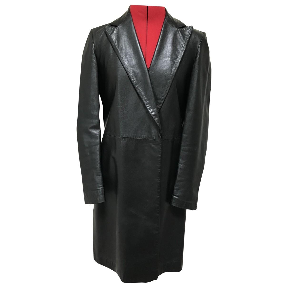 Versus - Manteau   pour femme en cuir - noir