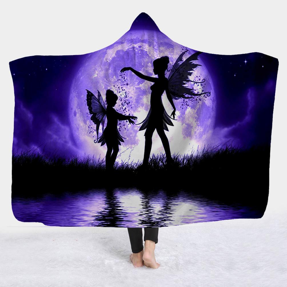 Fairies and Moon Purple Printed Super Soft Sherpa Fleece 3D Flatted Blanket