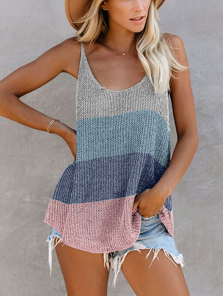 Yoins Backless Design Patchwork Round Neck Sleeveless Tank Top