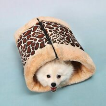 1pc Leopard Plush Zipper-up Dog Bed