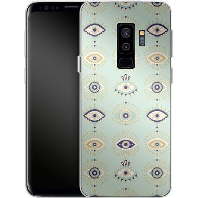 Samsung Galaxy S9 Plus Silikon Handyhuelle - Evil Eyes Mint von Cat Coquillette