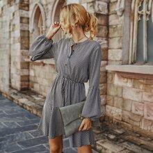 Gingham Half Button A-Line Dress