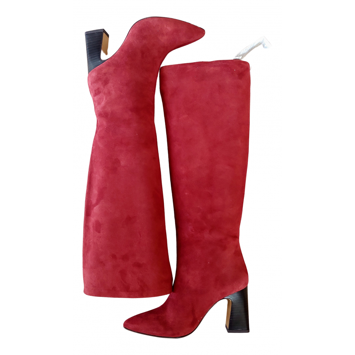 Non Signe / Unsigned \N Stiefel in  Rot Veloursleder
