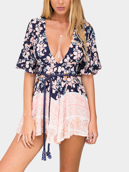 Yoins Sexy Calico Cut Out Flared Sleeve Playsuit with Open Back