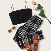 Solid Cropped Cami Top & Plaid Leggings Set