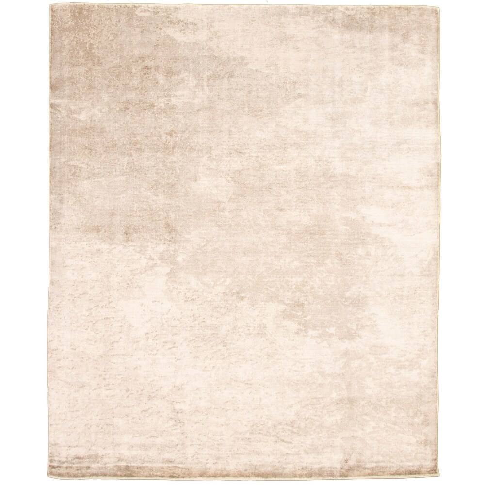 ECARPETGALLERY  Hand Loomed Galleria Ivory, Taupe Viscose Rug - 7'10 x 9'7 (Ivory, Taupe - 7'10 x 9'7)