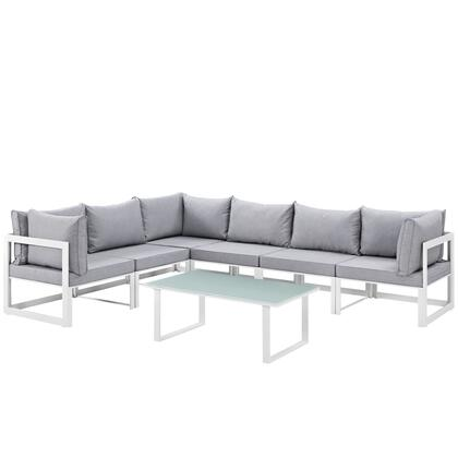 Fortuna Collection EEI-1737-WHI-GRY-SET 7-Piece Outdoor Patio Sectional Sofa Set with Coffee Table  3 Center Sections and 3 Corner Sections in White