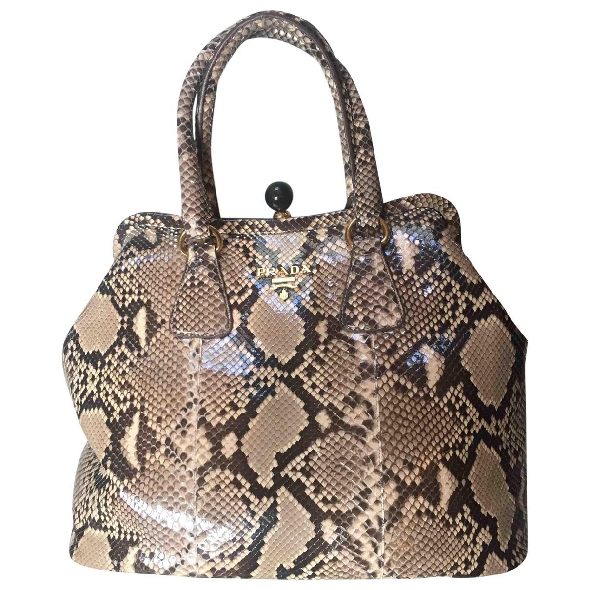 Prada \N Beige Python handbag for Women \N