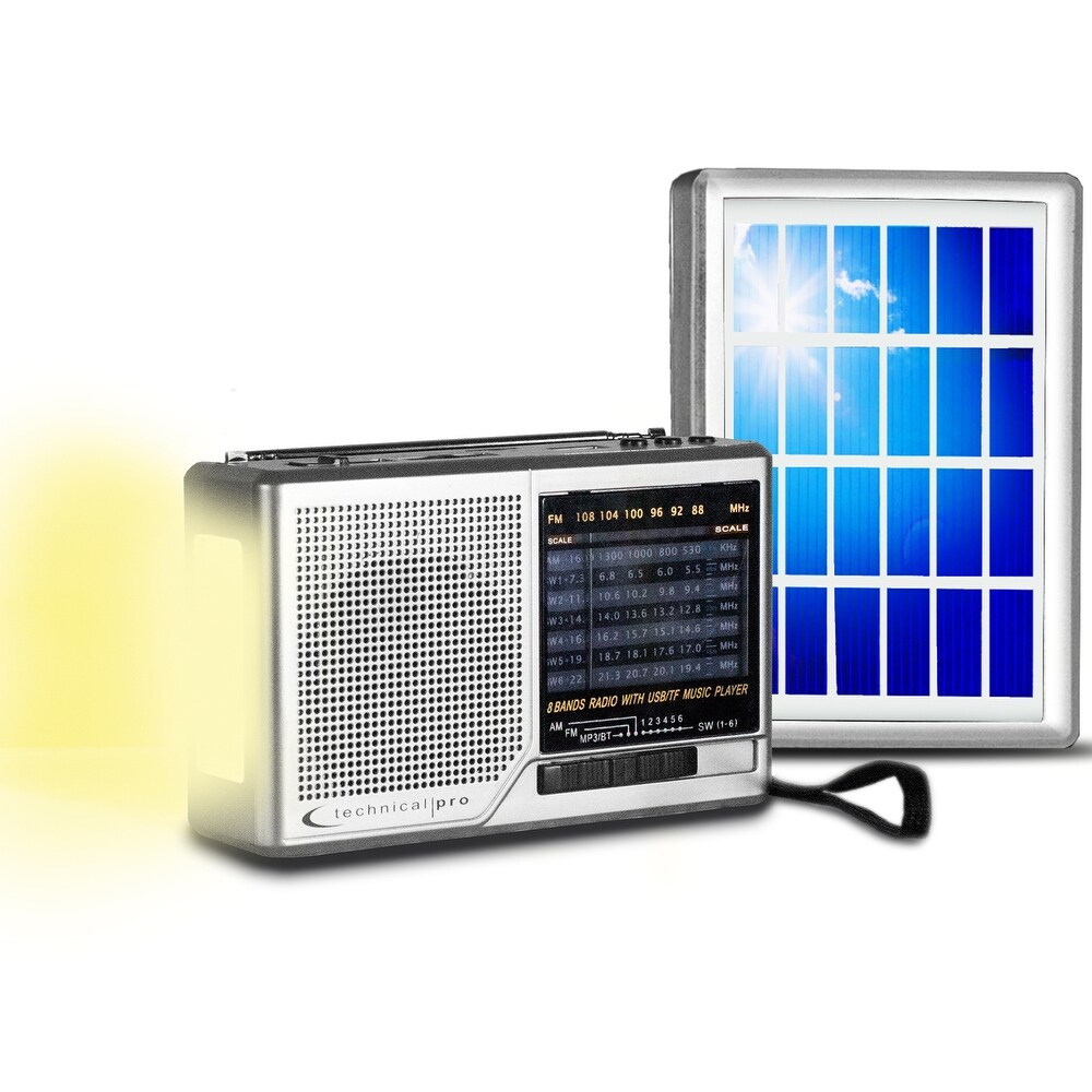 Technical Pro Portable Solar Powered AM/ FM Radio with Built-in Speaker and Flashlight for Emergency and Outdoor Survival (Silver)