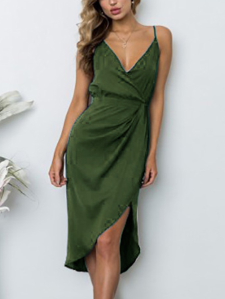 Yoins Army Green V-neck Ruching Side Asymmetric Wrap Midi dress